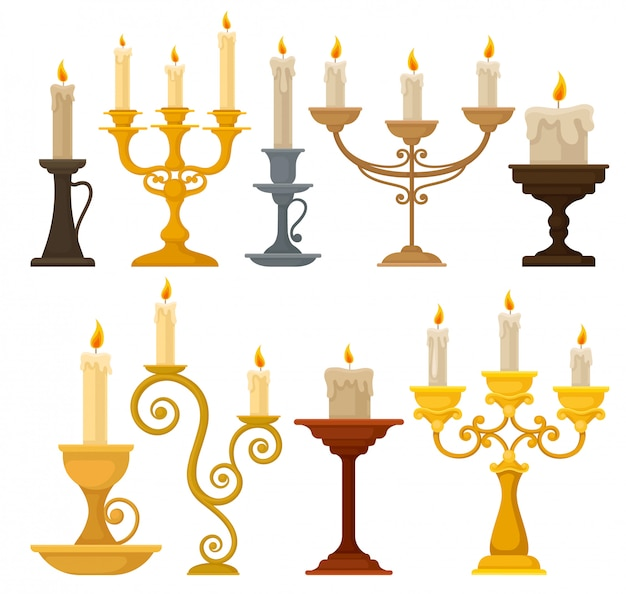 Collection of candles in candlesticks, vintage candle holders and candelabrums  illustration on a white background Premium Vector