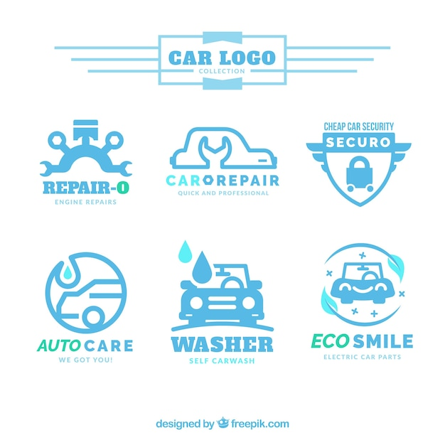 Collection of car logos in blue tones Free Vector
