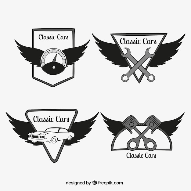 Collection Of Car Logos With Wings Free Vector