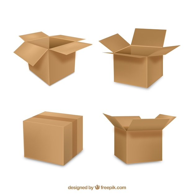 Collection of cardboard boxes in realistic style Free Vector