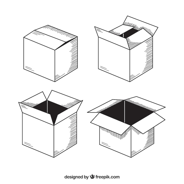 Collection of cardboard boxes to shipping Free Vector