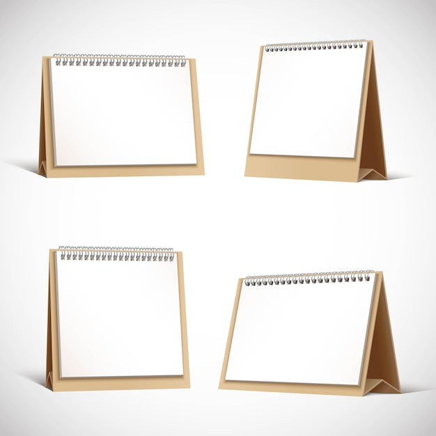 Collection of cardboard table planners or calendars. Premium Vector