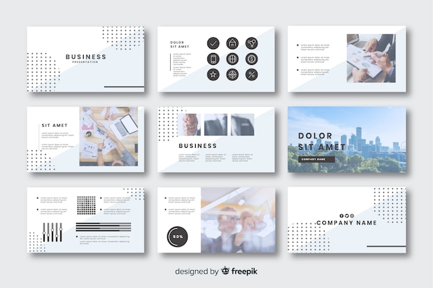 Collection of cards for business presentation Free Vector