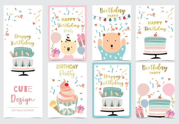 Collection of cards set with cake Premium Vector