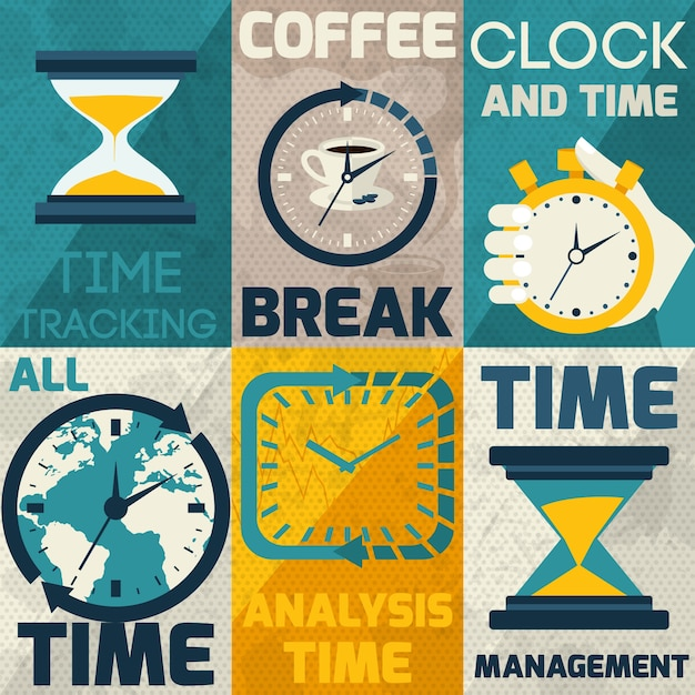 Collection of cards with different types of clocks Free Vector