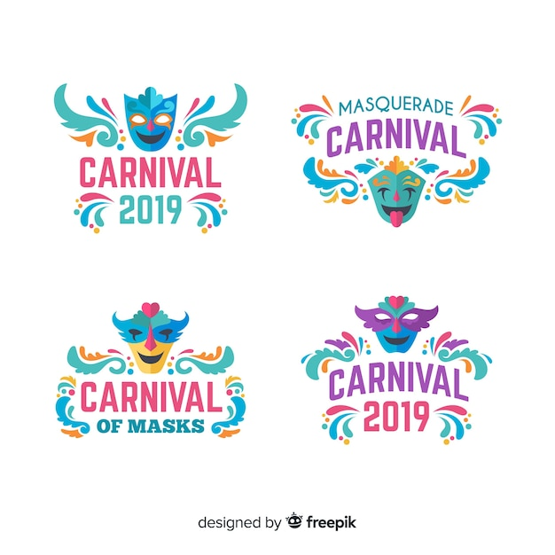 Collection of carnival labels Free Vector