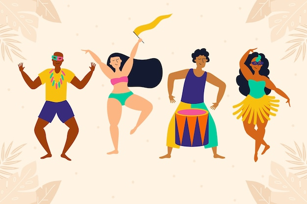 Collection of carnival people dancing Free Vector