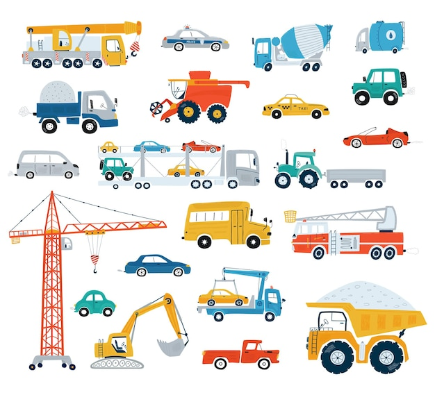 Collection of cars and construction vehicles. cute cars for kids in flat style on white background.