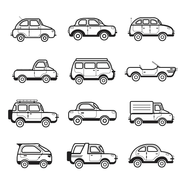 Collection of cars and trucks illustration Free Vector