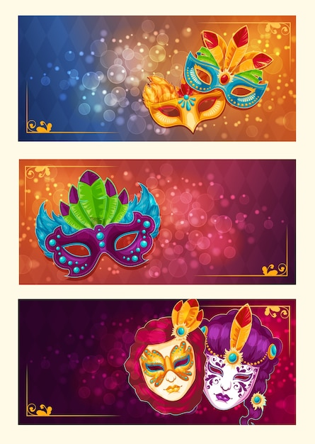 Collection of cartoon banners with carnival masks decorated with feathers and rhinestones Free Vector