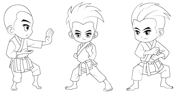 Collection of cartoon karate kid used for coloring book Premium Vector