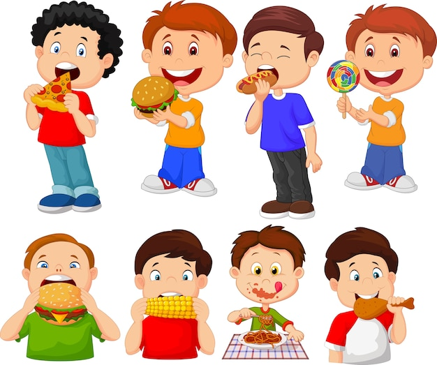 Collection of cartoon little boy eating fast food Premium Vector