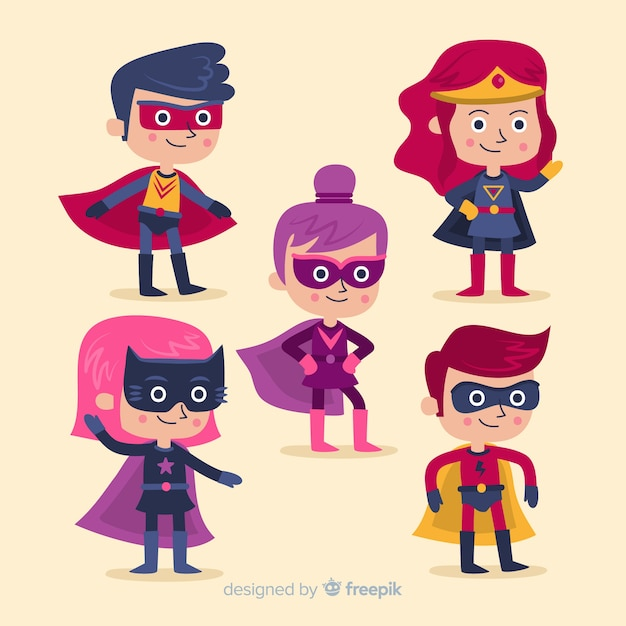 Collection of cartoon superheroes Free Vector