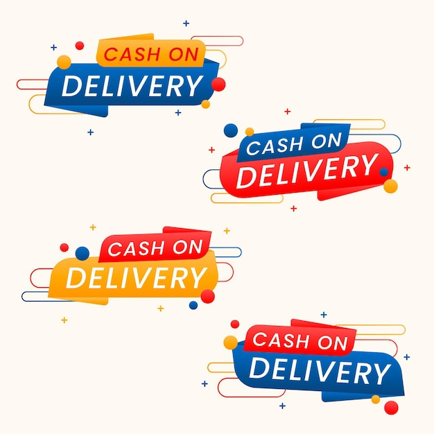 Collection of cash on delivery badges Premium Vector