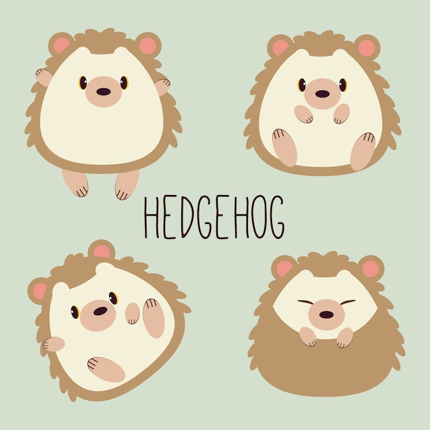 Collection of character cartoon of cute hedgehog with many action. sitting, sleeping Premium Vector