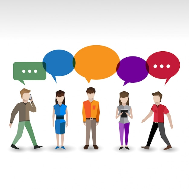 Collection of characters with color speech bubbles Free Vector