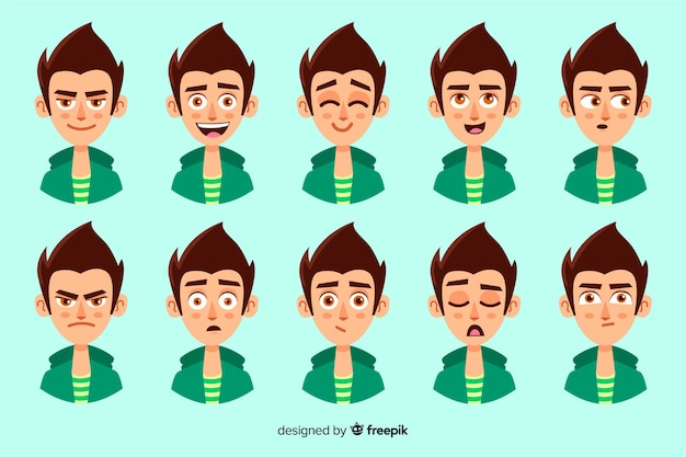 Collection of characters with different facial expressions Free Vector