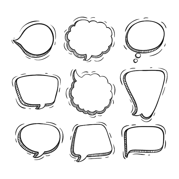 Collection of chat bubbles with doodle or sketch style Premium Vector