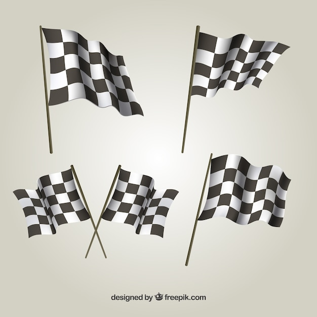 Collection of checkered flags Free Vector