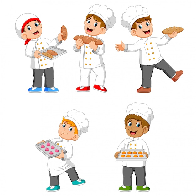 The collection of the chef are holding their bread and cookies Premium Vector
