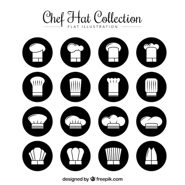 Collection of chef hats in flat design Vector  e5896b47165