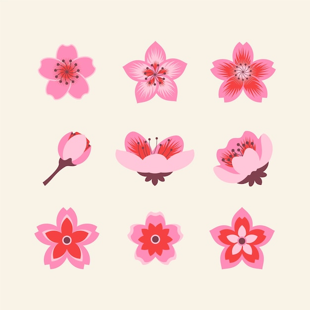 Collection of cherry blossoms flat design Free Vector