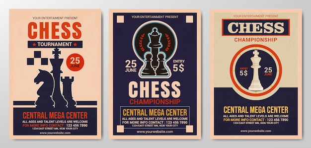 Collection of chess tournament flyer template Premium Vector