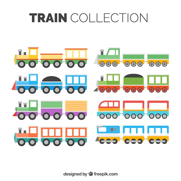 Collection of childish trains Free Vector
