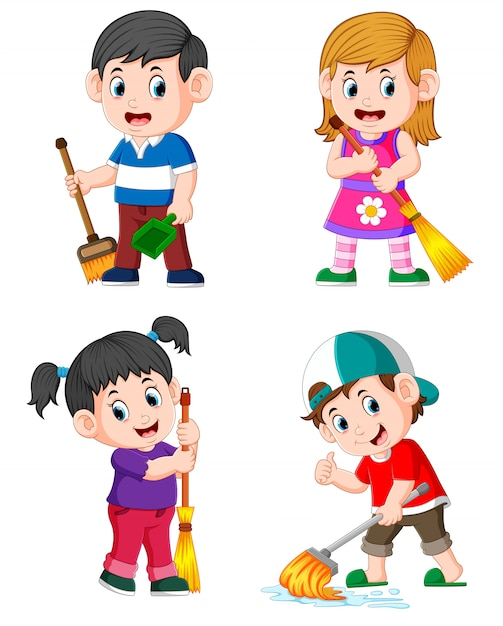 The collection of the children doing the daily house activities Premium Vector