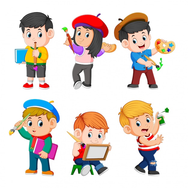The collection of the children doing the paint Premium Vector