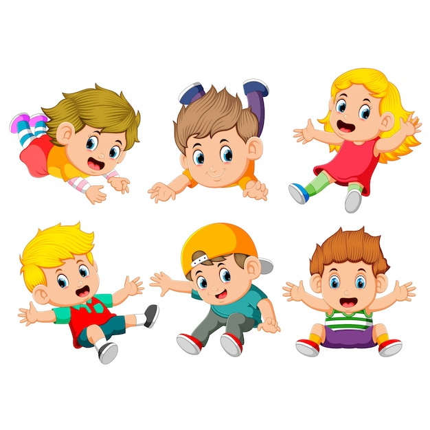 The collection of the children flying Premium Vector