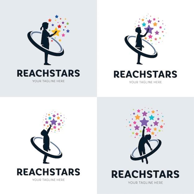 Collection of children reaching star logo set Premium Vector