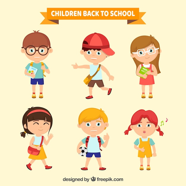Collection of children ready for school Free Vector