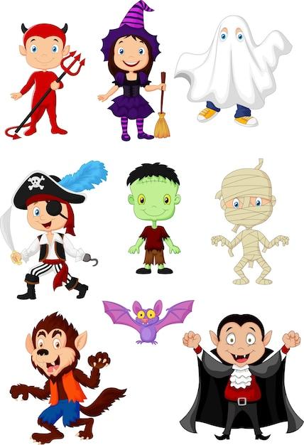 Collection children with halloween costume Premium Vector
