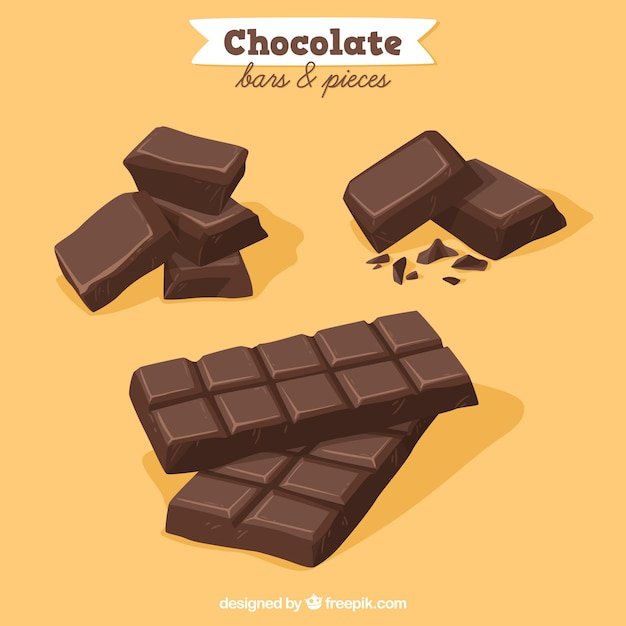 Collection of chocolate bars and pieces Free Vector