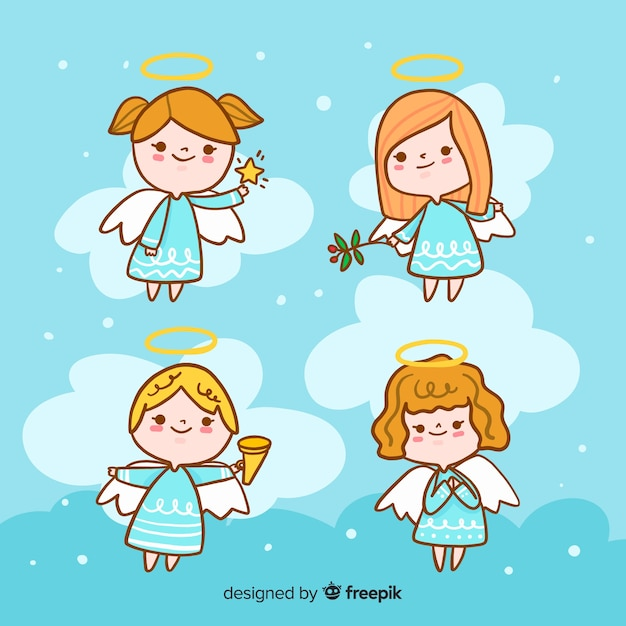 Collection of christmas angels hand drawn style Free Vector
