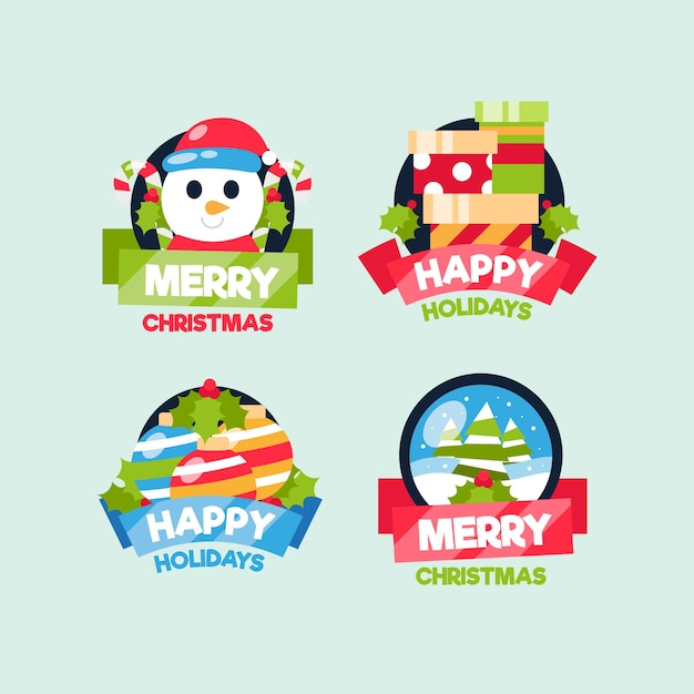 Collection of christmas badge in flat design Free Vector