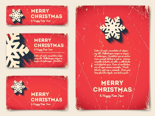 Collection of christmas banners with snowflake Premium Vector