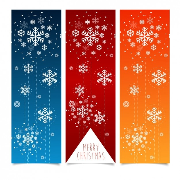 Collection of christmas banners with snowflakes Free Vector
