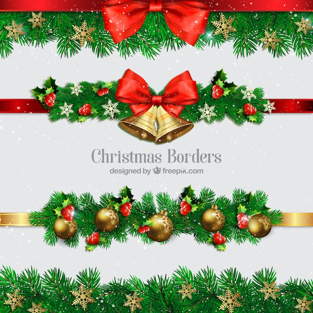 Collection of christmas borders with balls and bells Free Vector