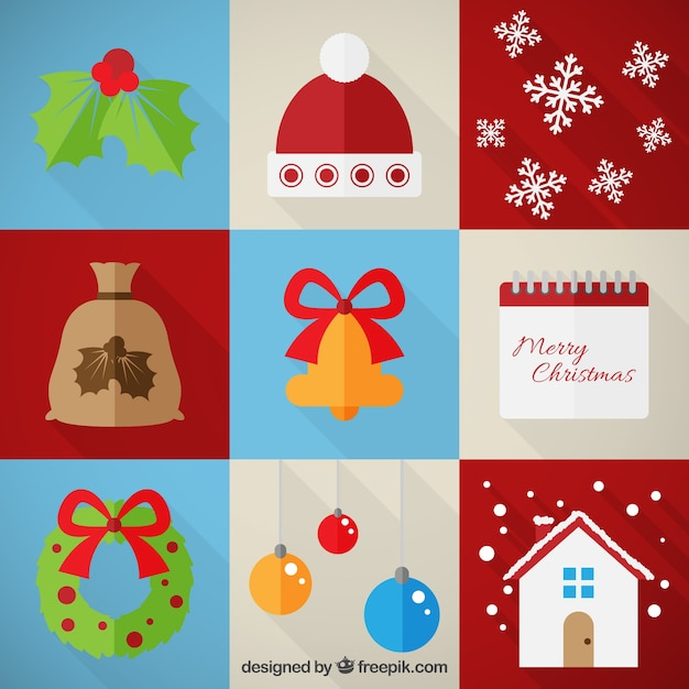 Collection of christmas elements Free Vector