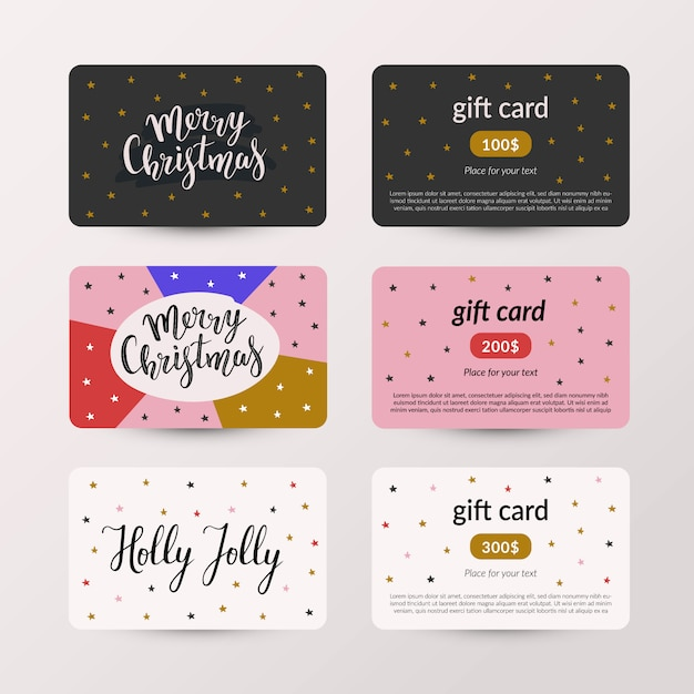 Collection of christmas gift cards Premium Vector