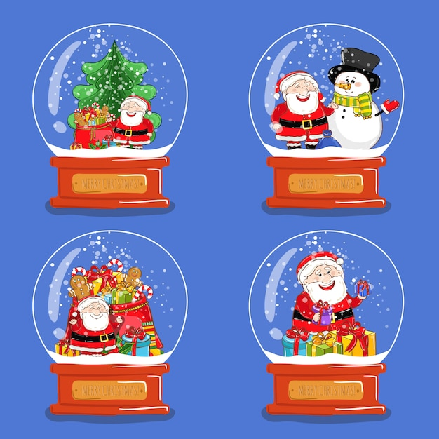 Collection of christmas glass snow globes Premium Vector