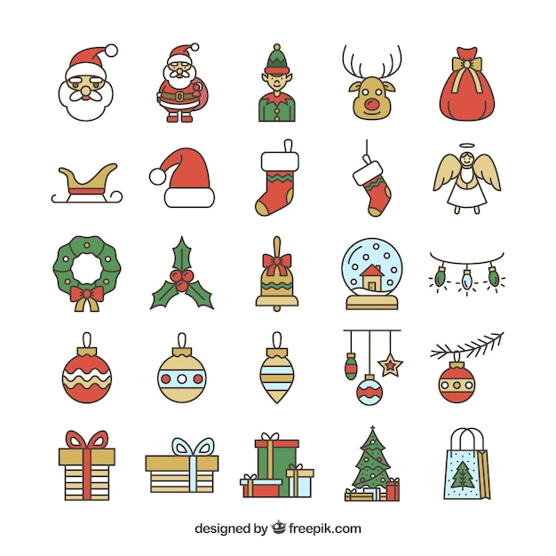 Collection of christmas icons Premium Vector