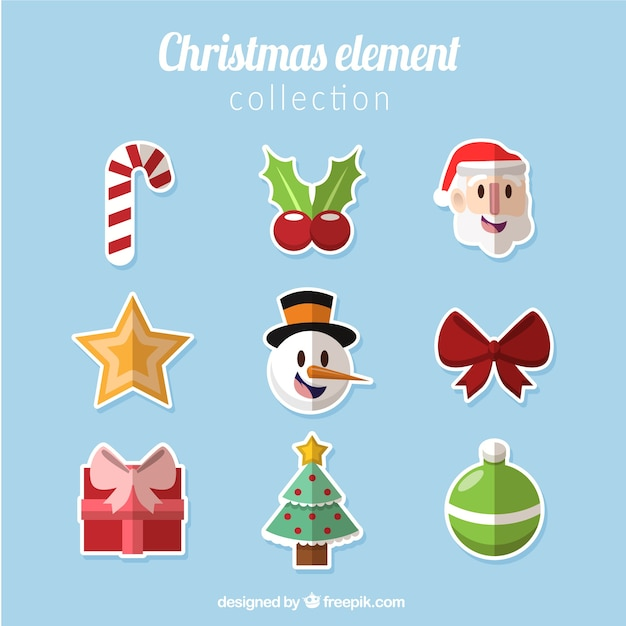 Collection of christmas items in flat design Free Vector