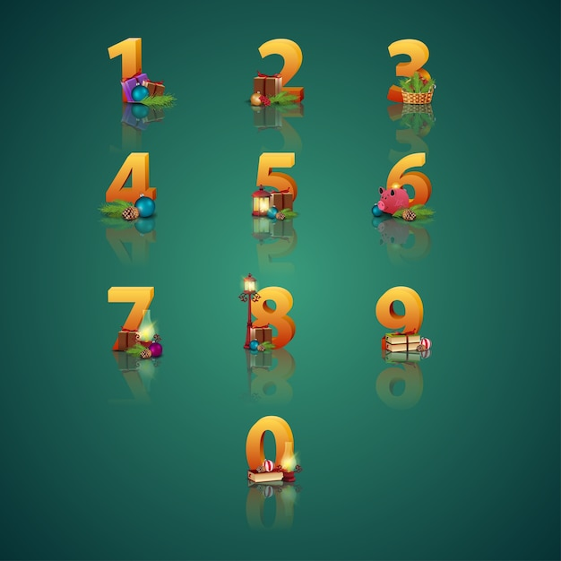 Collection of christmas numbers. Premium Vector