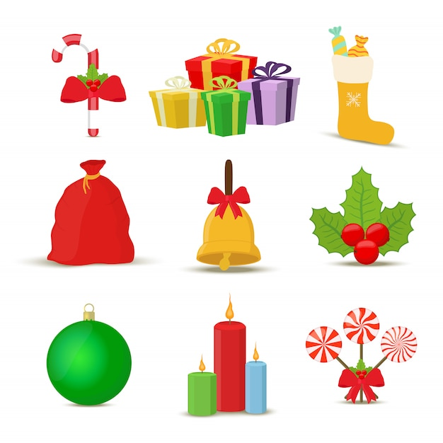 Collection of christmas objects Premium Vector