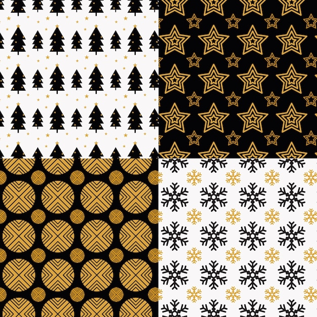 Collection of christmas pattern in flat design Free Vector