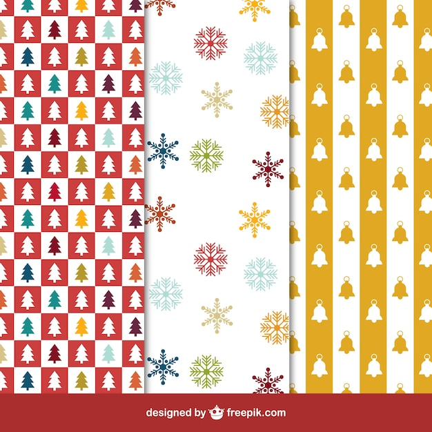 Collection of christmas patterns in colored style Free Vector