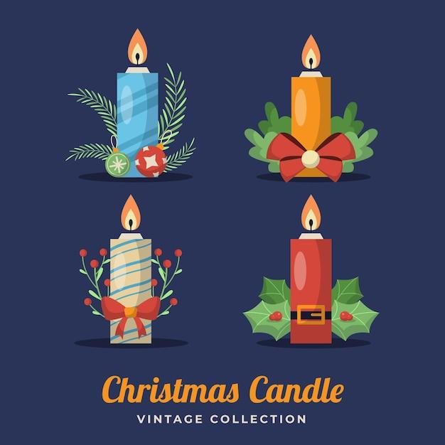 Collezione di candele retrò di natale Vettore gratuito